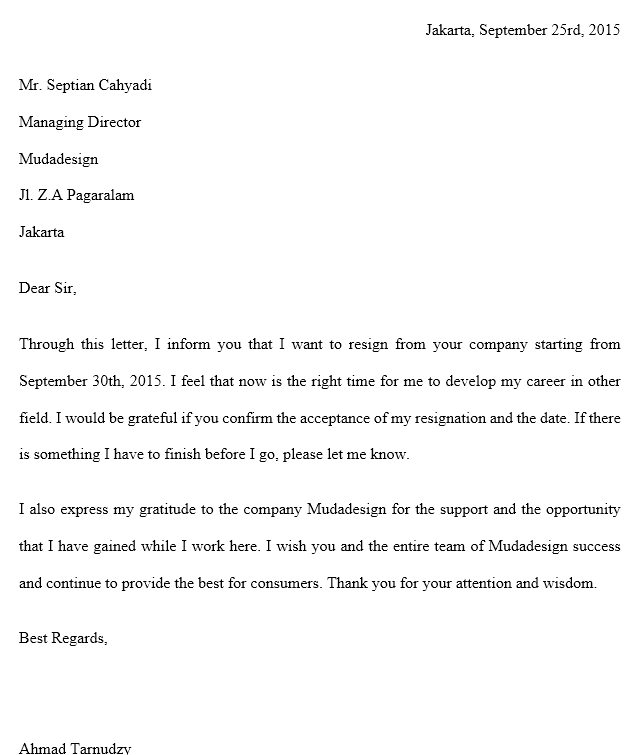 Contoh Surat Pengunduran Diri Bahasa Inggris Profesional