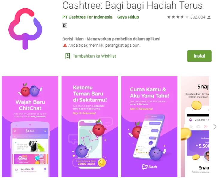 Aplikasi Android Cash Tree