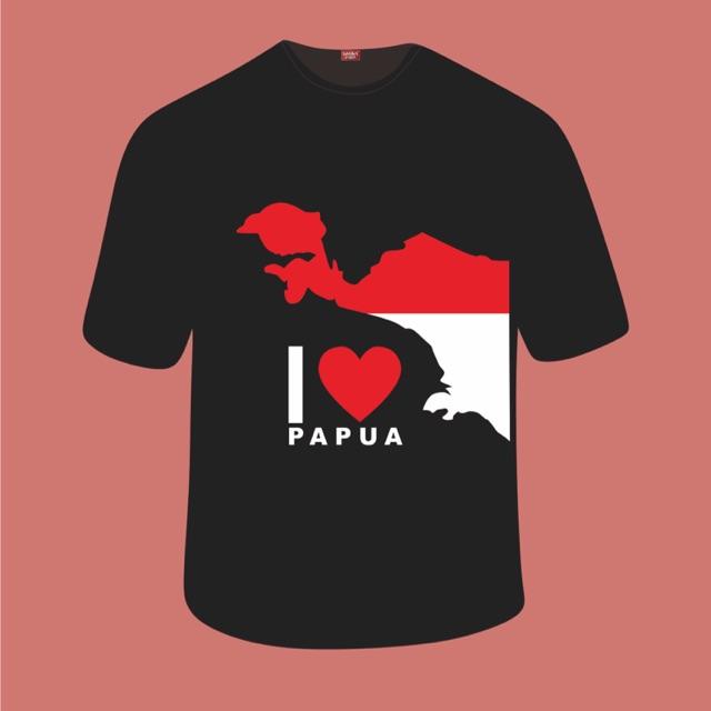 Oleh-oleh Khas Papua Kaos I LOVE PAPUA