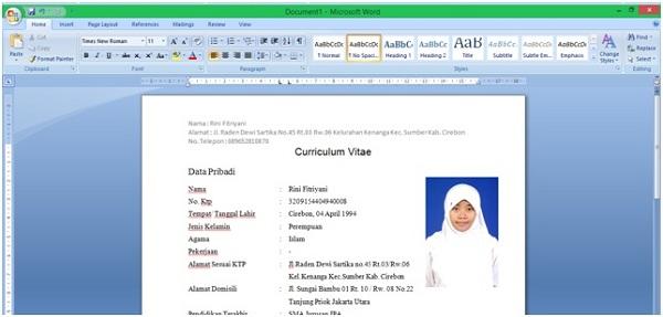 Cara Membuat CV yang Menarik di Word