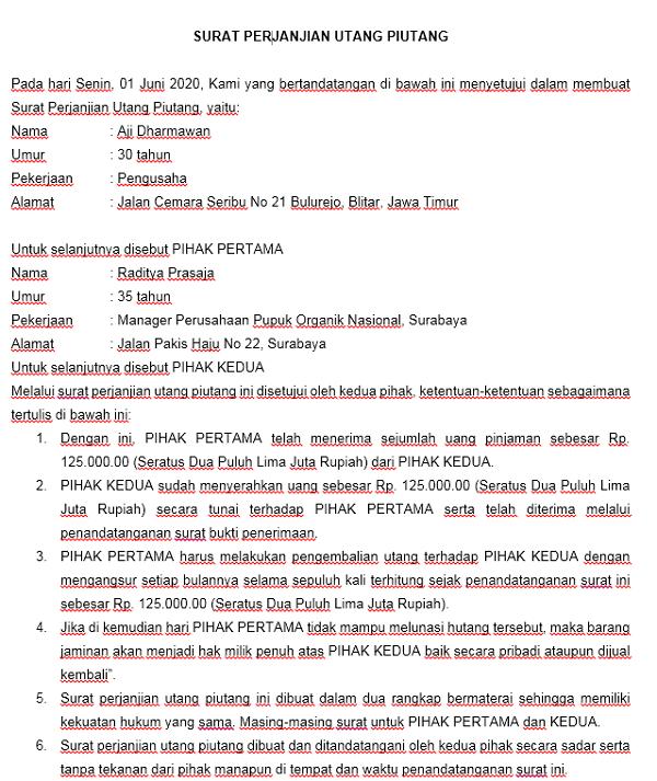 5 Contoh Surat Perjanjian Hutang Piutang | Republik SEO