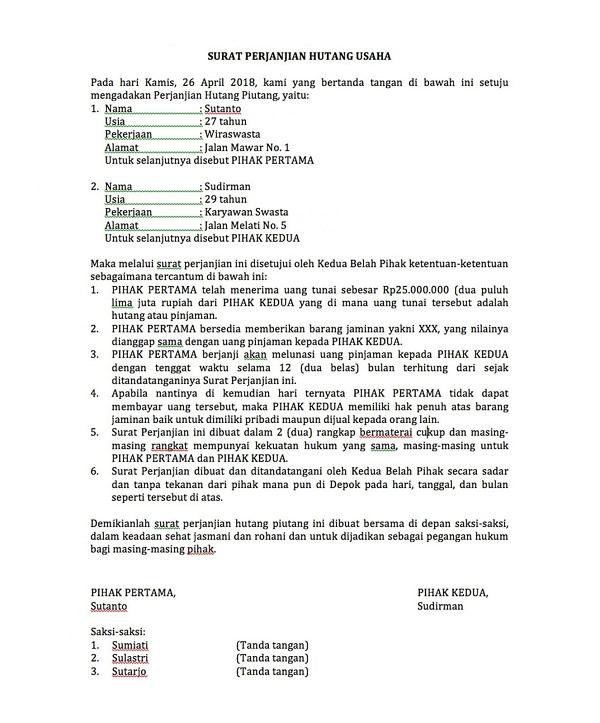 Contoh Surat Perjanjian Hutang Usaha
