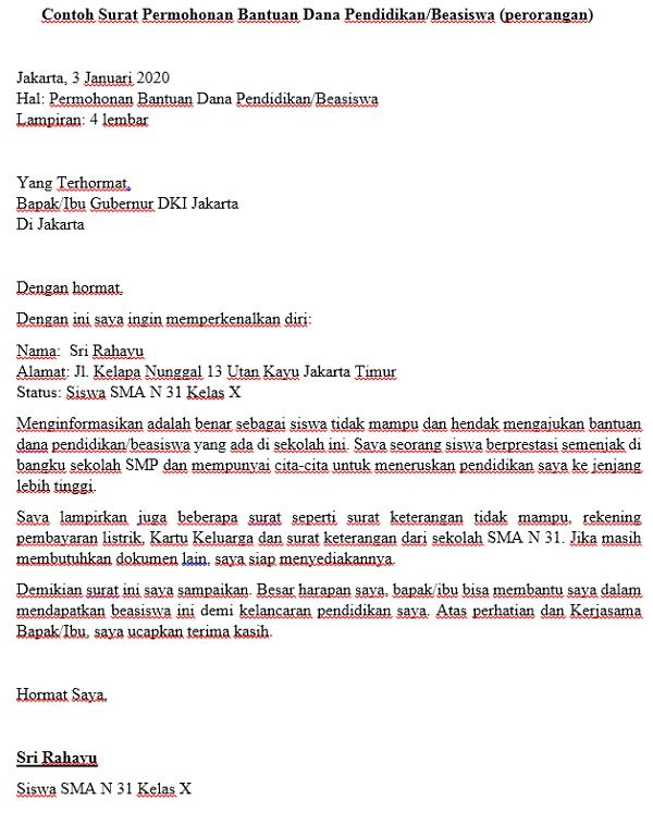 5 Contoh Surat Permohonan Bantuan Yang Baik Republik Seo