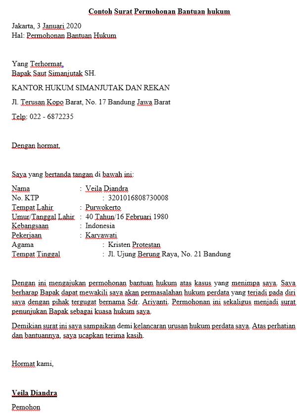 Contoh Surat Permohonan Bantuan hukum