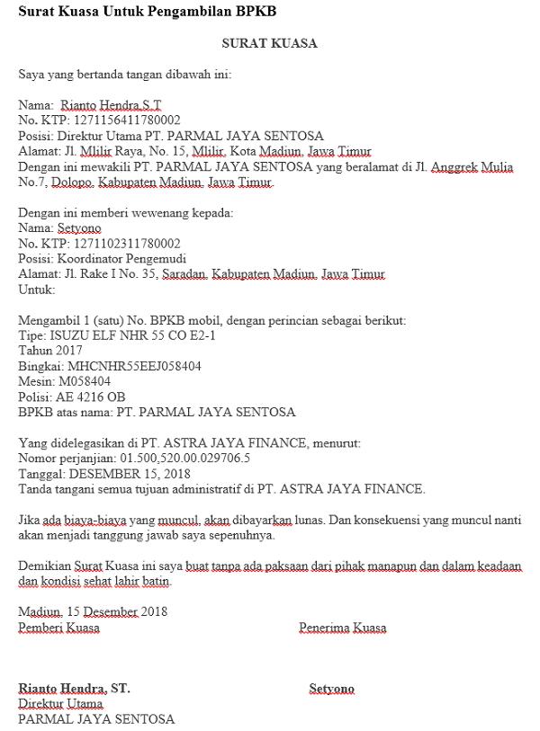 Surat Kuasa Untuk Pengambilan BPKB