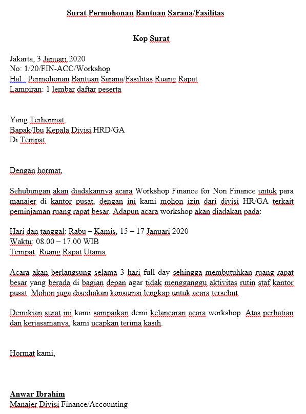 Surat Permohonan Bantuan Sarana Fasilitas
